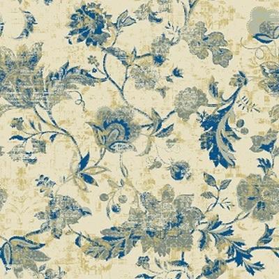 Синие цветы, велюр