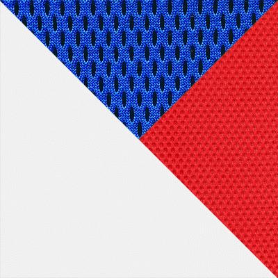 Иск.кожа белая / Ткань синяя/красная, 36-01/10/08