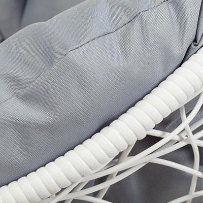 Белый, ротанг / Серый, ткань