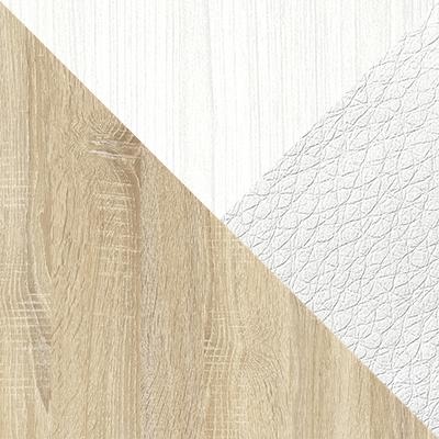Дуб Сонома / Белый (текстура дерева) / Белый, экокожа