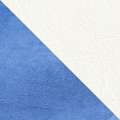 Голубой, велюр / Белый, кожзам