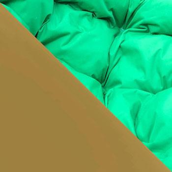 Коричневый, ротанг / Зеленый, ткань