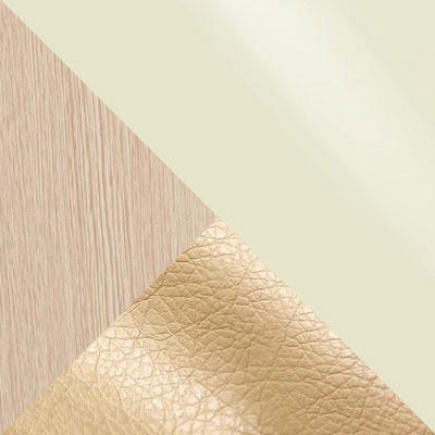 Батлер 02, экокожа / Дуб выбеленный, ЛДСП / Молочный, стекло