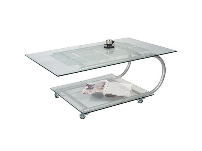 Стеклянный журнальный стол на колесиках 115-1440